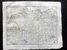 Mutlow 1801 Antique Map. Germany Divided in its Circles